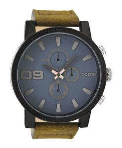 OOZOO Sporty Tan Suede Leather Watch