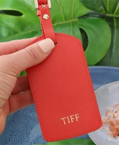Personalised Blood Orange Saffiano Leather Luggage Tag