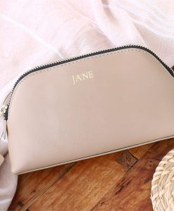 Personalised Taupe Saffiano Leather Cosmetic Bag