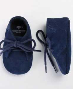 Personalised Navy Suede Baby Shoes in Gift Box