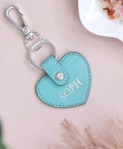 Personalised 'Tiffany Blue' Leather Heart Keyring
