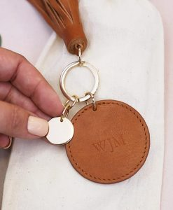 Personalised Women's Tan Leather Tassel Keyring
