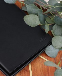 Personalised Black A5 Leather Notebook Holder