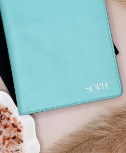 Personalised 'Tiffany Blue' A5 Leather Notebook Holder