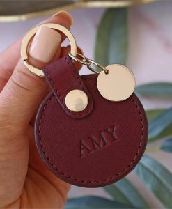 Personalised Burgundy Leather Circle Keyring