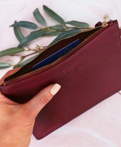 Personalised Burgundy Leather Pouch