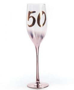 50th Birthday Blush Champagne Flute