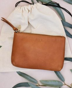 Personalised Tan Leather Cosmetic Pouch