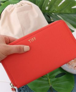 Personalised Blood Orange Saffiano Leather Wallet