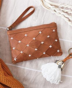 Shell By The Sea Tan Clutch with Monogram