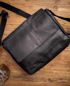 Black Leather 'East West' Messenger Bag with Monogram