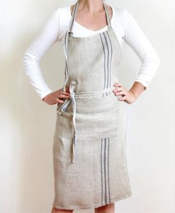 Linen Apron with Blue Stripe