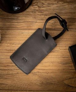 Black Leather Luggage Tag with Monogram