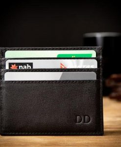 Black Leather Card Holder with Personalised Monogram