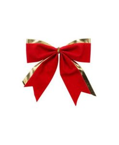 Red With Gold Trim Christmas Tree Bows - 6 Pack