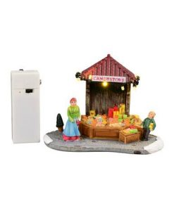 Illuminated Christmas Lolly Treats Street Market Stall Scene - 11cm