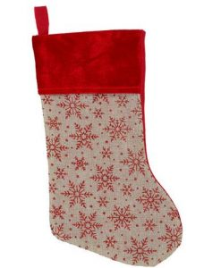 Natural Burlap With Glittered Snowflakes Pattern & Velvet Cuff Stocking - 42cm
