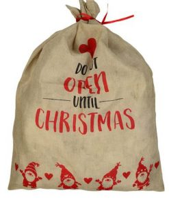 Jute ' Do Not Open Until Christmas ' With Heart & Santa Sack - 93cm