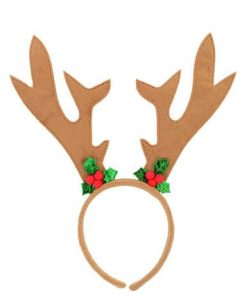 Brown Velvet Reindeer Antlers With Mistletoe Decorations - 26cm