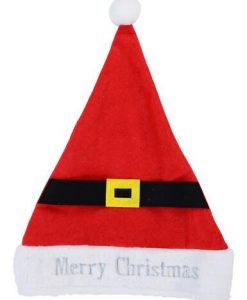 Embroidered ' Merry Christmas ' Felt Santa Hat With Belt & Buckle - 39cm