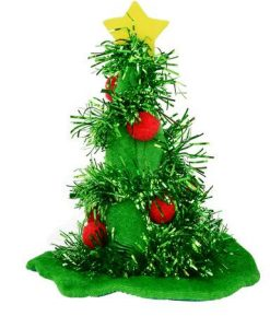 Green Decorated Christmas Tree Full Brim Hat Hairpin - 15cm