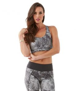 Bayse Snake Print Womens Sports Bra Crop - Grey Snake Print