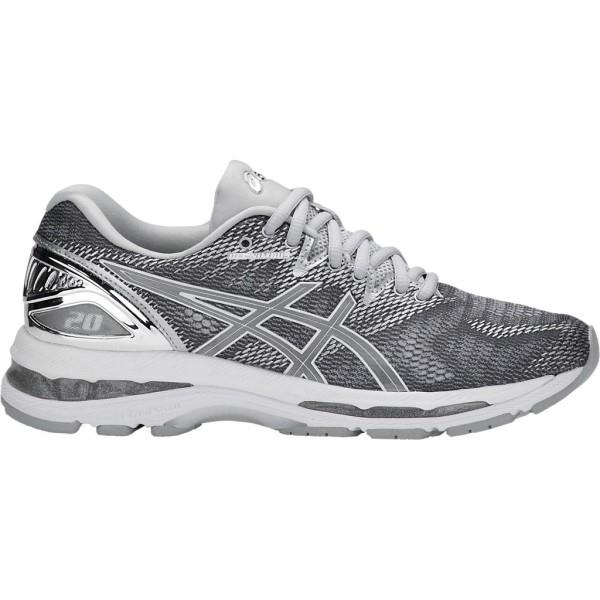 Asics Gel Nimbus 20 Platinum - Womens Running Shoes - Carbon/Silver/White