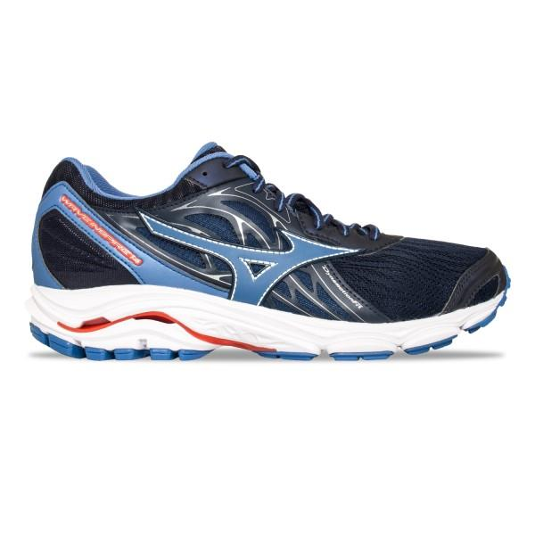Mizuno Wave Inspire 14 - Mens Running Shoes - Evening Blue/Delft/Tomato Red