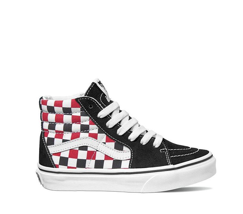 Vans YOUTH SK8-HI CHECKER RED (Checkerboard) Black