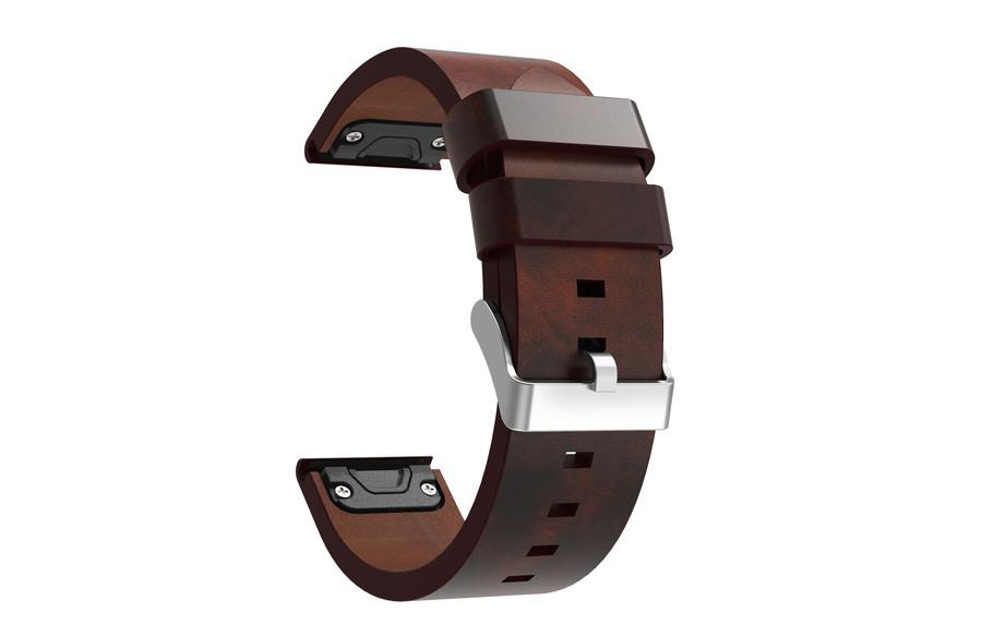 Wildfire Replacement Leather Watch Band for Garmin Fenix 5 Brown