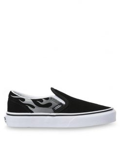 Vans KIDS SUEDE FLAME CLASSIC SLIP-ON SHOES (Suede Flame) Black