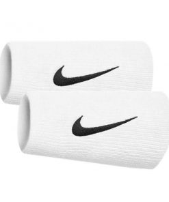 Nike Swoosh Doublewide Wristbands - Pair - White/Black