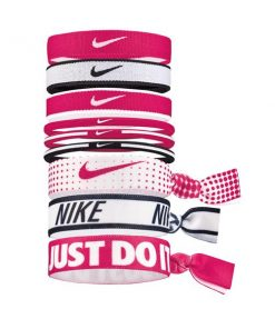 Nike Mixed Ponytail Holder - Assorted 9 Pack - Pink/White/Black