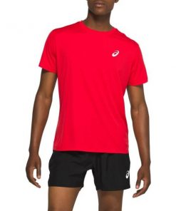 Asics Silver Mens Short Sleeve Running T-Shirt - Classic Red