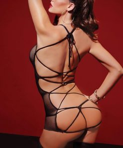 Seven Til Midnight Fishnet Chemise with Thong & Satin Entangle Tie