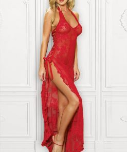 Leg Avenue Long Lace Gown with G-String