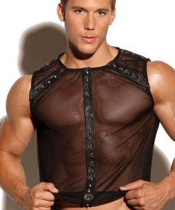 Allure Leather & Mesh Top