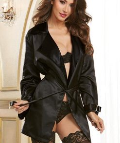 Dreamgirl Charmeuse Robe with Trench Coat Styling