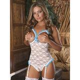 Exposed Luv Floral Lace Crotchless Open Cup Teddy
