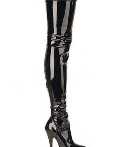 Pleaser Patent Look Thigh High 4 1/4 Heel Boots