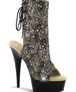Pleaser 6 Heel Ankle Boots with Satin & Rhinestones