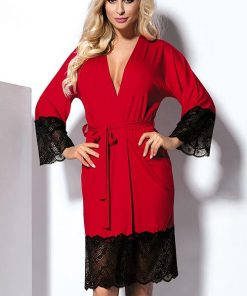 DKaren Jasmin Jersey-knit with Lace Robe