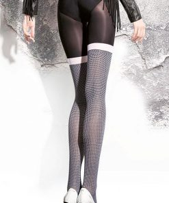 Fiore Patterned Pantyhose in Black & White