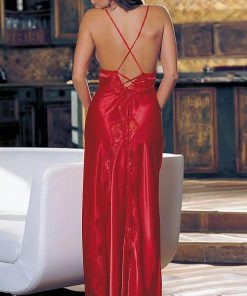 Shirley Of Hollywood Valentine Red Charmeuse & Lace Long Gown