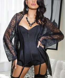 Coquette Nightshade Sheer Lace Robe