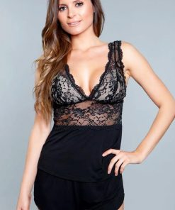 Be Wicked Orian Black Lace Camisole With Shorts