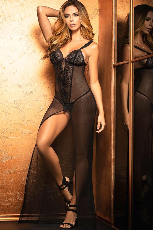 Mapale by Espiral Heat Wave Sheer Gown With G-String