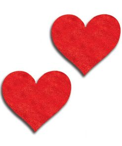 iCollection Red Satin Heart Pasties (2 Pack)