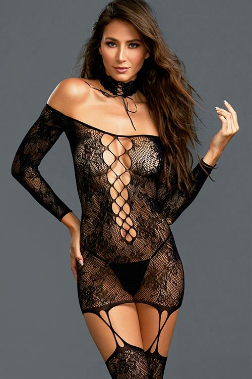 Dreamgirl New Wave Off-Shoulder Bodystocking Dress With Thigh Highs