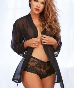 Dreamgirl Perfect Match Black Robe with Cheeky Lace Boyshort